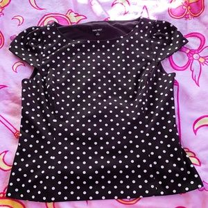 Nine West Black & White Polka Dot Top Size 10
